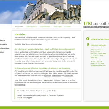JFK Immobilien Köln, Screenshot