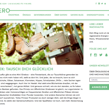 SAVERO Energie GmbH, Blog, Screenshot